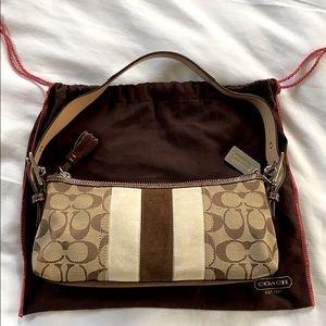 👜 COACH Signature Stripe Demi Suede Handbag EUC